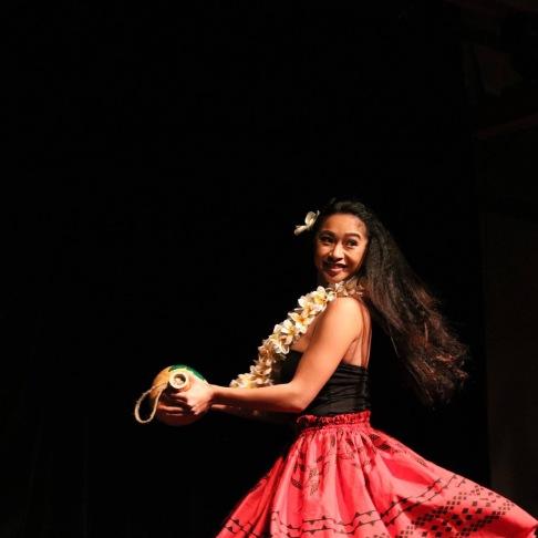 """I danced a song titled """"Haleakala Hula,"""" accompanied with hula implements."""