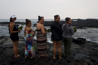 My Kumu, and fellow Mea Kako'o (leads of the group). We got moved up to Alaka'i which gives us more responsibility within the halau. I am honored to hold this position alongside them. Together, we are one!